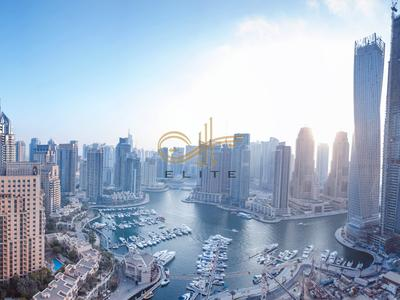 Duplex 2BR FULL MARINA VIEW furnished apt in Marina heights tower, Dubai marina with view of water.