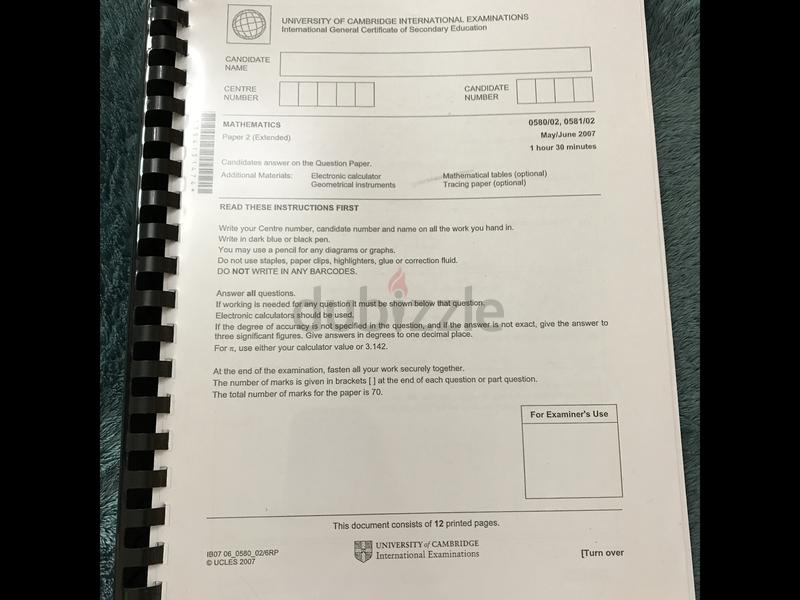 IGCSE past papers Booklet  Mathematics extended paper 2
